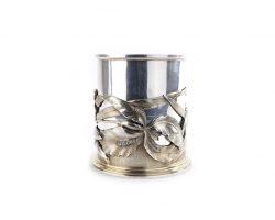 Серебряная стеклянная подставка для ручек ваза - A Risler & Carré - Париж