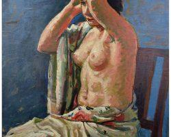 Картина маслом на панно, Salietti Alberto - Обнаженная с китайской шалью 1929 г.