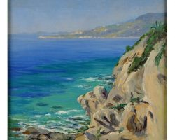 Oil painting on canvas - Welter Wilem - View of Bordighera from Capo Nero