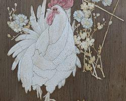 Pannello finemente intarsiato in avorio e madreperla, Giappone fine 800/ primi 900