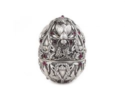 Pavel Ovchinnikov, silver Egg with garnets Russian Fabergé Style
