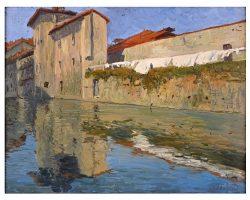 Quadro dipinto olio su tavola - Guglielmo Baldassini, navigli milanesi