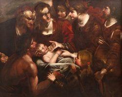 Giacchino Assereto -Attr. Il ritrovamento di Mosè dipinto olio su tela 600 genovese
