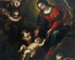 Dipinto religioso sacro olio su tela maternità sacra famiglia capoletto 600 emiliano