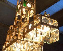 Grande lampadario in bronzo dorato belle epoque Liberty