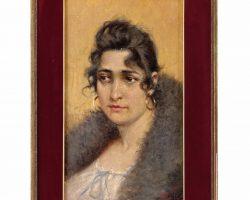 Quadro dipinto olio su tela firmato Aleardo Villa ritratto femminile