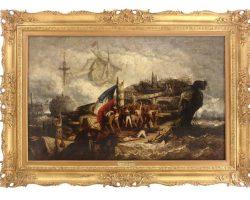Battaglia navale quadro dipinto olio su tela Hendrik Frans Schaefels