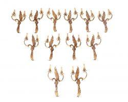 Lotto di 12 appliques stile L'XV / L'XIV ferro dorato foglie e cristalli