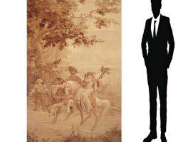 Arazzo paesaggio equestre con scena galante Frammento 700