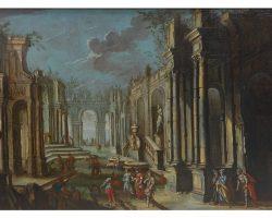 Quadro dipinto olio su tela paesaggio con rovine - Vittorio Maria BIGARI (1692-1776) attr.
