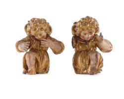 Coppia di sculture putti legno dorato alta epoca 500 nord Italia lacca policroma originale