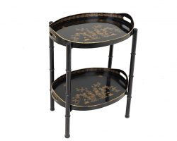 Tavolino portavivande laccato e dipinto cineserie vassoio servomuto