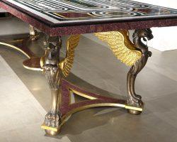 Grande tavolo piano a commesso porfido, marmi antichi, struttura bronzo dorato e brunito