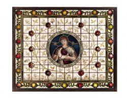 Vetrata vetro a cattedrale, diana, la notte, la luna fine 700 farfalle chiocciole