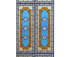 Vetrata Liberty vetro colorato coppia di vetrate