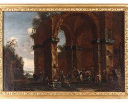 Coppia di quadri dipinto olio su tela paesaggio con rovine Clemente Spera Novara, 1661 – Milano, 1742