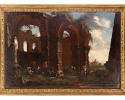 Coppia di dipinti quadro olio su tela paesaggio con rovine Clemente Spera (Novara, 1661 – Milano, 1742)