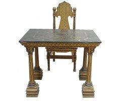 Scrivania scrittoio tavolino con sedia firmato Favara Palermo - Sicilia stile Cappella Palatina esposti a Roma
