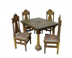 Tavolo e 4 sedie firmato Favara Palermo - Sicilia decori riferiti alla Cappella Palatina