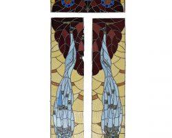 Vetrate Liberty pavoni vetro a cattedrale epoca primissimi 900, Design floreale