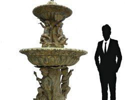 Grande fontana in fusione di bronzo, tritoni, putti, cupido - Fonderie napoletane primi 900