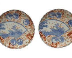 Coppia piatti in ceramica cinese, Cina fine 800