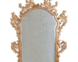 Specchiera dorata foglia oro e intagliata su base in legno, Veneziana epoca 900