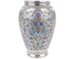 Piccolo vaso in argento smaltato, porta penne, smalti floreali