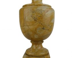 Vaso urna in marmo giallo antico montato a lampada