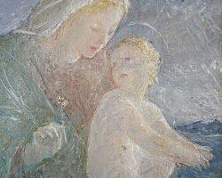 Quadro dipinto olio firmato Vanni Rossi 1951 - Madonna del mattino. Chiarista chiarismo lombardo
