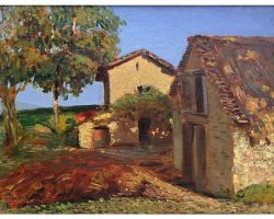 Quadro paesaggio dipinto olio su tavola firmato Piero Fornari
