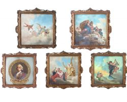 Gruppo di 5 quadri dipinti tempera su tela da Tiepolo epoca 800