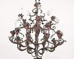 Lampadario in ferro battuto laccato - lombardia XVIII° secolo