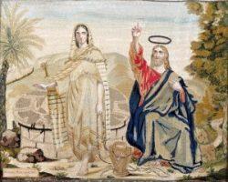 Quadro in seta ricamato firmato Rota e datato 1852 - Maddalena al pozzo