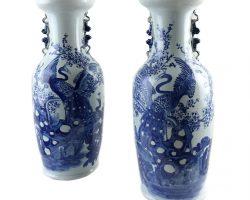 Coppia di vasi ceramica cinese, Cina bianco blu fenice