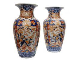 Coppia di vasi ceramica Imari cinese, Cina XIX secolo